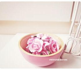 Curly Roses Mulberry paper flower / pack