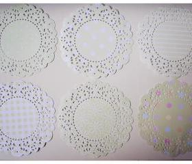 6 Parisian Lace Doily Pastel Green colors polka dot / pack 