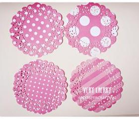 Parisian Lace Doily Very Cherry polka dot & stripe for Scrap booking or card making / pack