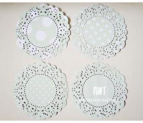 Parisian Lace Doily Mint polka dot & stripe for Scrap booking or card making / pack