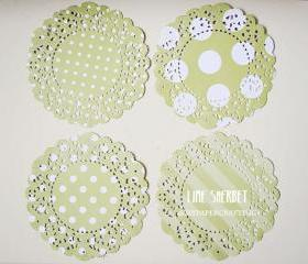 Parisian Lace Doily Lime Sherbet polka dot & stripe for Scrap booking or card making / pack