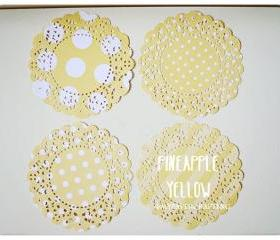 Parisian Lace Doily Pineapple Yellow polka dot & stripe for Scrap booking or card making / pack