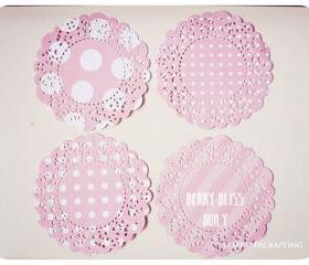Parisian Lace Doily Berry Bliss polka dot & stripe for Scrap booking or card making / pack