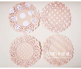 Parisian Lace Doily Peaches & Cream polka dot & stripe for Scrap booking or card making / pack