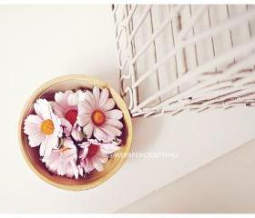 Daisy Pink Mulberry paper flower / pack