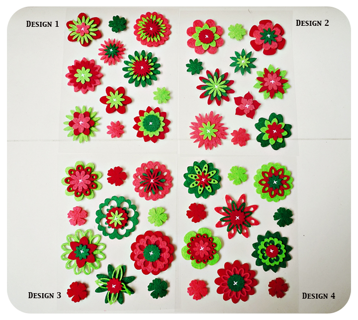 Christmas Flower felt embellishment set
