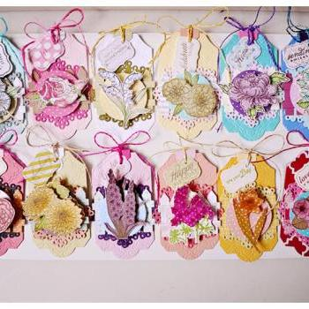 Year of Flower Tags for Scrap booking / card making/ gift etc