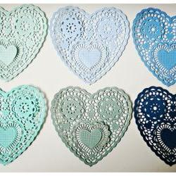 "Heartshape Lace colored doilies 4"" for Scrap booking or card making / pack"