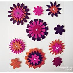 Flower felt embellishment set